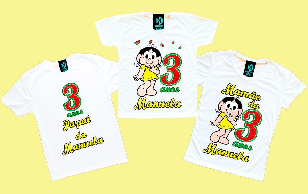 kit 3 camisetas magali aniversário