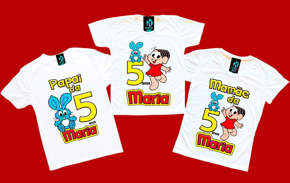 kit 3 camisetas mônica aniversário