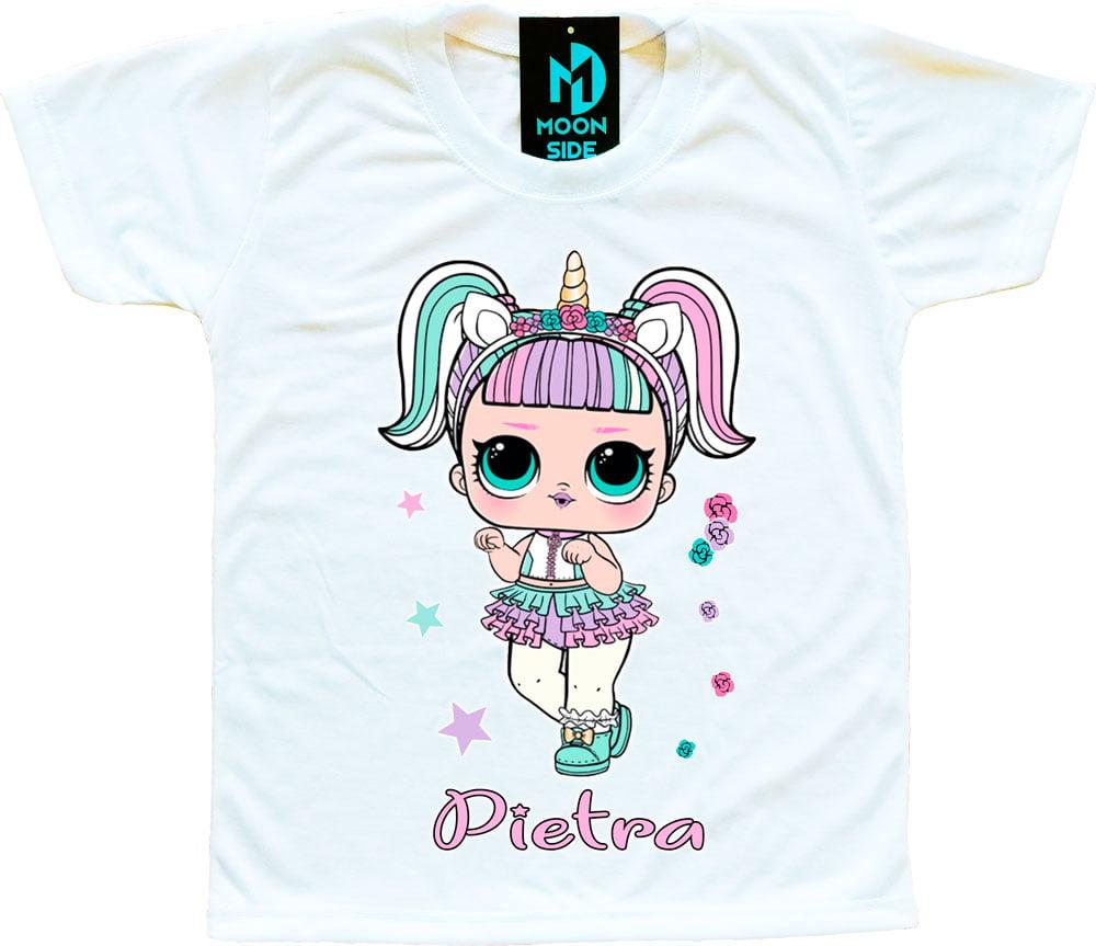 Camiseta Boneca Lol Surprise Unicórnio - Personalizada