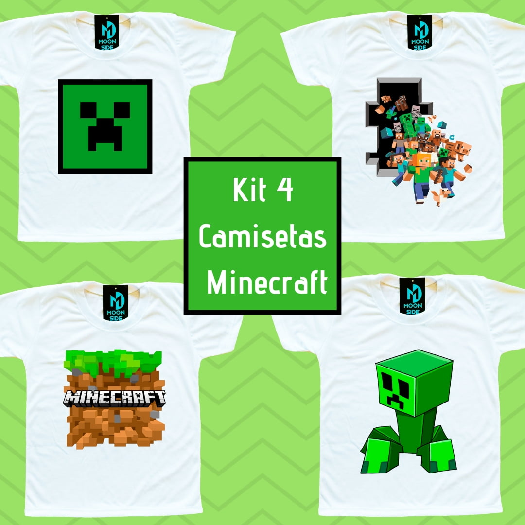 Kit 4 Camisetas Minecraft infantil