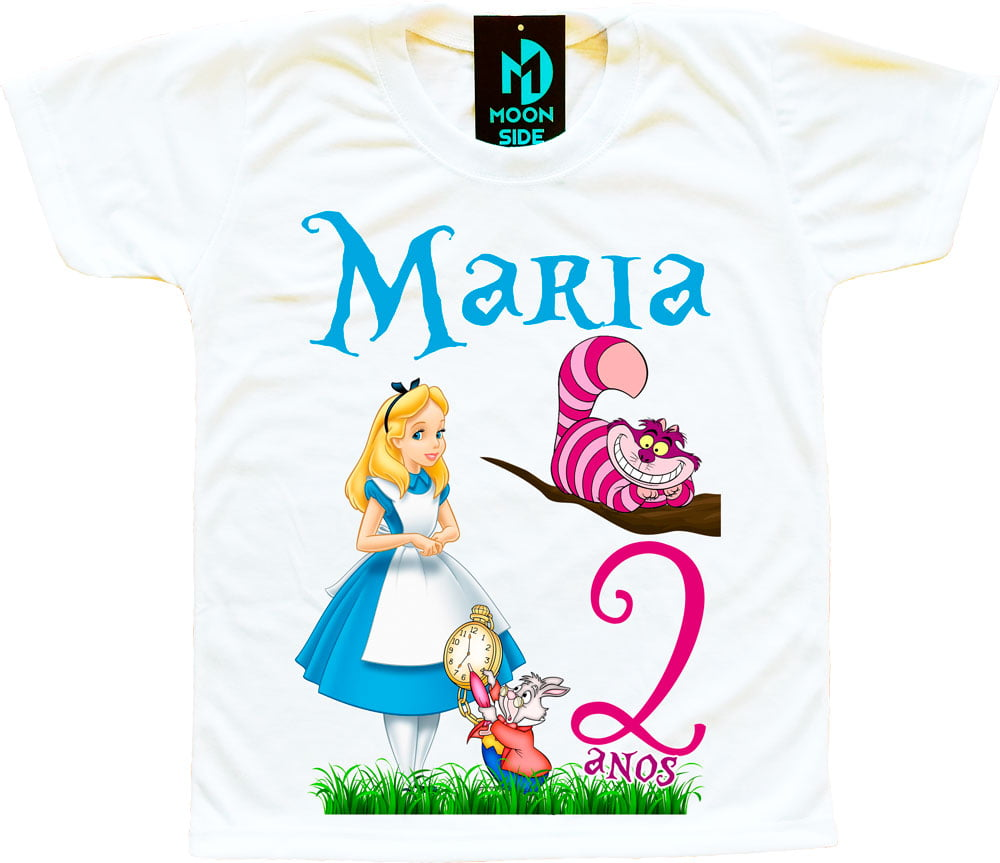 camiseta alice no país das maravilhas personalizada aniversário