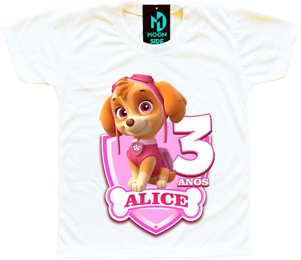 camiseta patrulha canina menina aniversário
