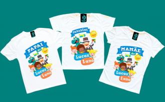 kit 3 camisetas Mundo Bita Aniversario
