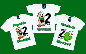 Kit 3 camisetas cebolinha aniversário