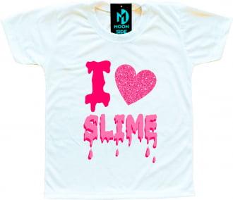 Camiseta I Love Slime (Eu amo Slime) - Rosa