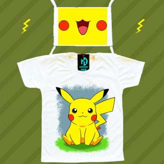 Kit Camiseta e Máscara - Pikachu