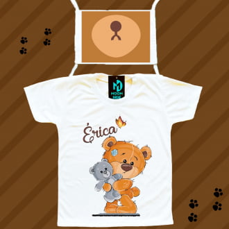 Kit Camiseta e Máscara - Ursinho