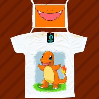 kit camiseta e máscara - charmander pokemon