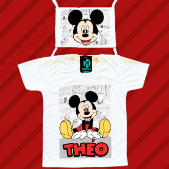 kit camiseta e máscara - mickey mouse