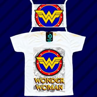 kit camiseta e máscara - mulher maravilha