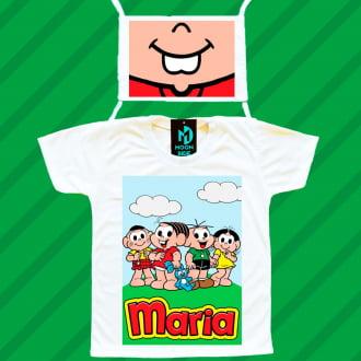 kit camiseta e máscara - turma da mônica