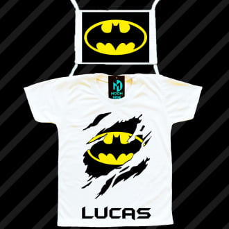 Kit camiseta e máscara - Batman