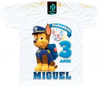camiseta chase patrulha canina paw patrol personalizada