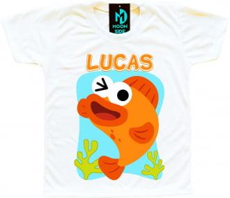 camiseta peixe laranja baby shark personalizada
