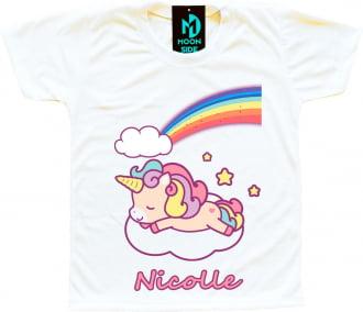 camiseta unicórnio soneca personalizada