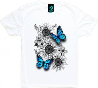 camiseta borboleta e girassol